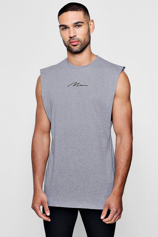 MAN Signature Sleeveless Drop Armhole T-Shirt