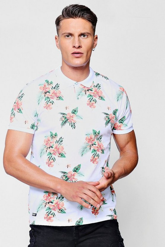 Hawaiian Print Polo T-Shirt