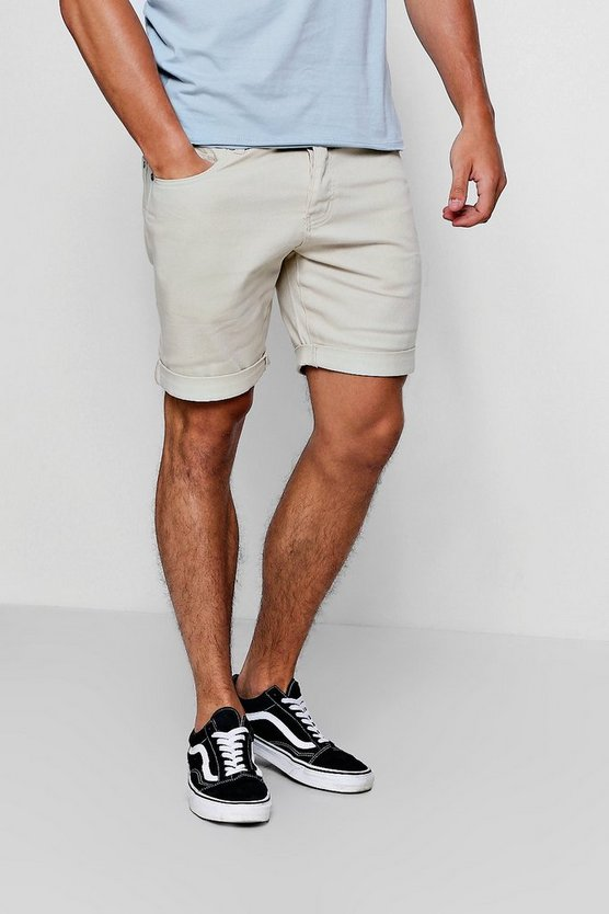 Slim Fit Coloured Denim Shorts