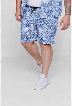Conjunto de short con cordón ajustable Big and Tall, Azul, Hombre