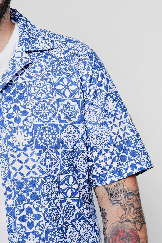 Tall Conjunto manga de de azul Big and corta camisa vvSWq61