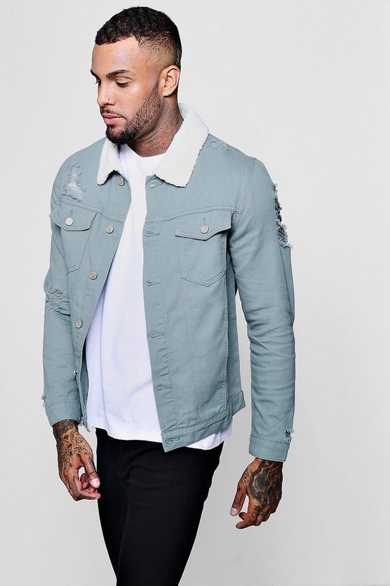 Borg Collar Distressed Denim Jacket
