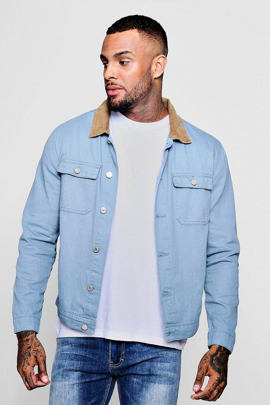 Denim Trucker With Cord Collar