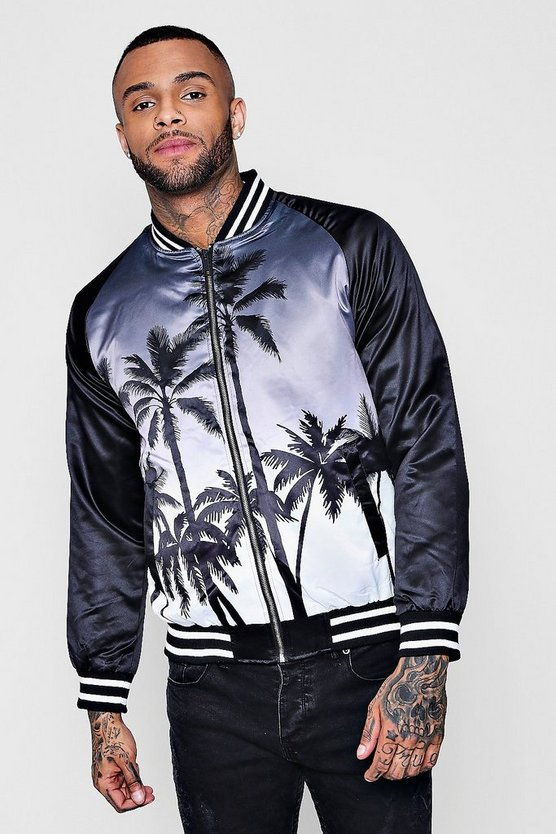 Ombre Palm Print Bomber Jacket
