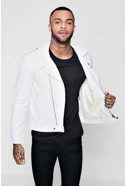 Mens White Faux Leather Jacket