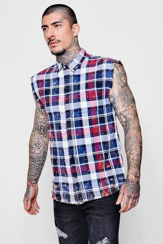 Acid Wash Sleeveless Check Shirt