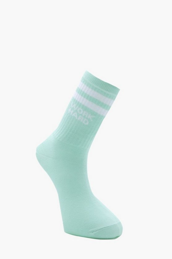 Mens Mint Work Hard Slogan Sport Stripe Socks