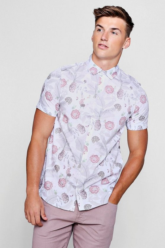 Faded Floral Print Short Sleeve Shirt