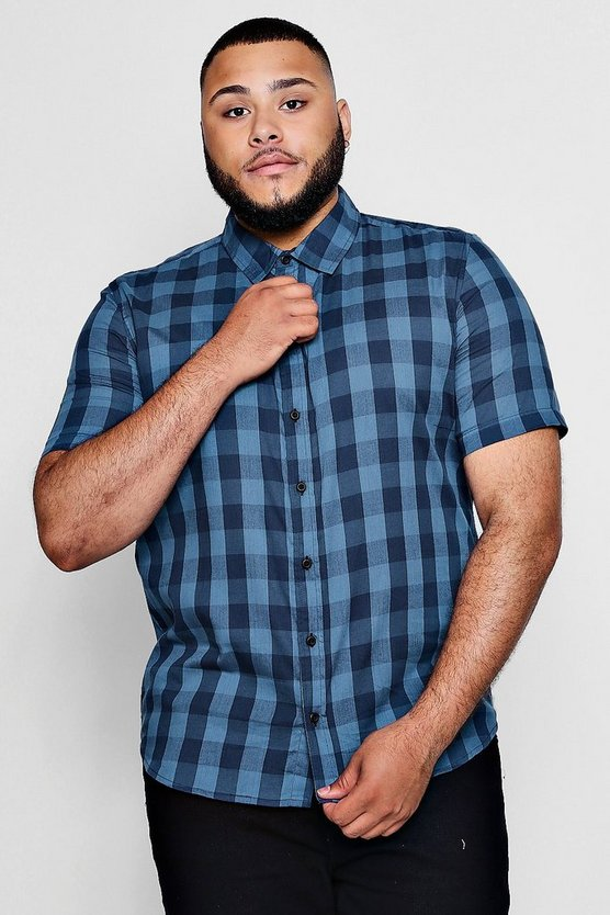 Big And Tall Large Check Short Sleeve Shirt