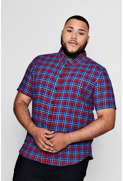 Big And Tall Checked Gingham Short Sleeve Shirt, Red, Uomo