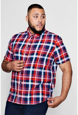 Big And Tall Classic Check Short Sleeve Shirt, Red, Uomo
