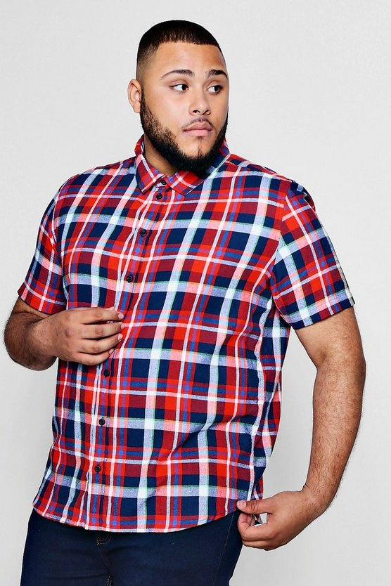 Big And Tall Classic Check Short Sleeve Shirt