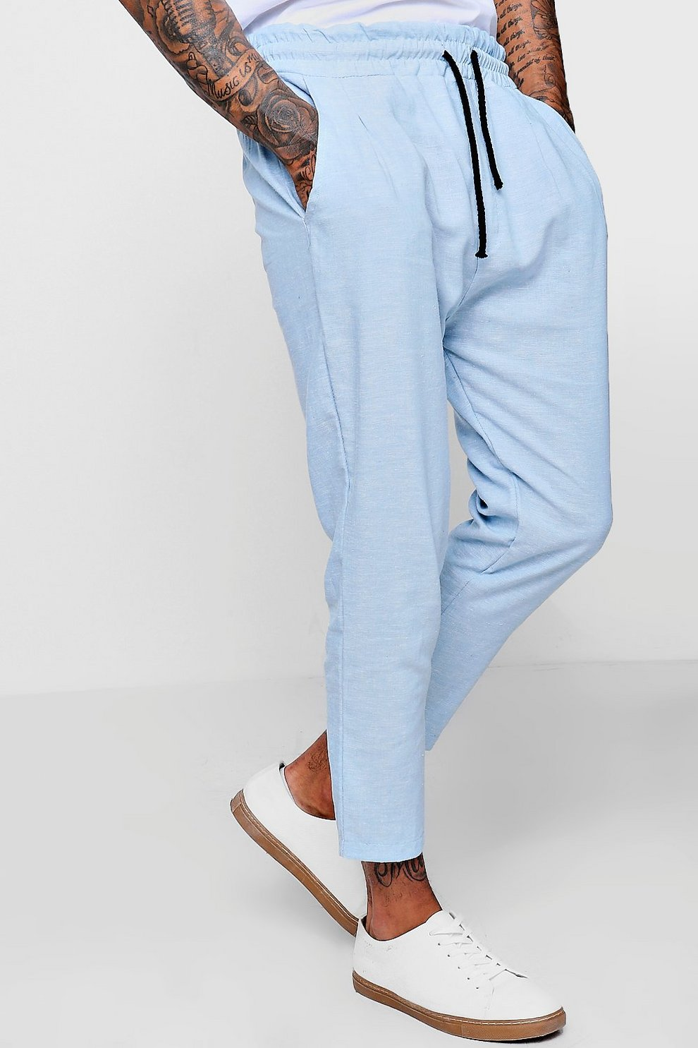 2a84ea9829cd 100% Linen Drawstring Jogger Style Trouser   Boohoo