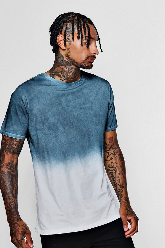 Blue Faded Dye Crew Neck T-Shirt