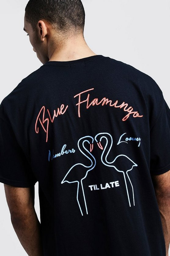 Neon Blue Flamingo Print Oversized Tee