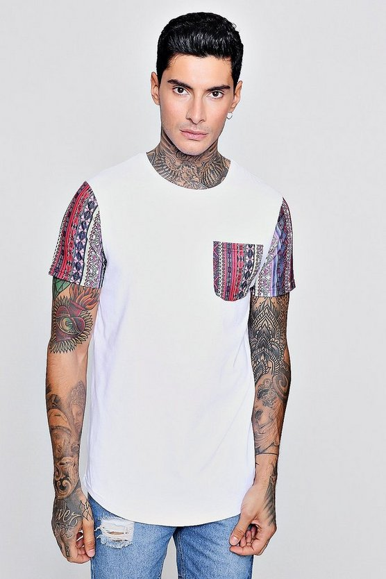 Longline Curved Hem Tee With Aztec Pocket & Sleeve