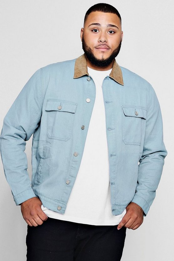 Big And Tall Cord Collar Denim Jacket