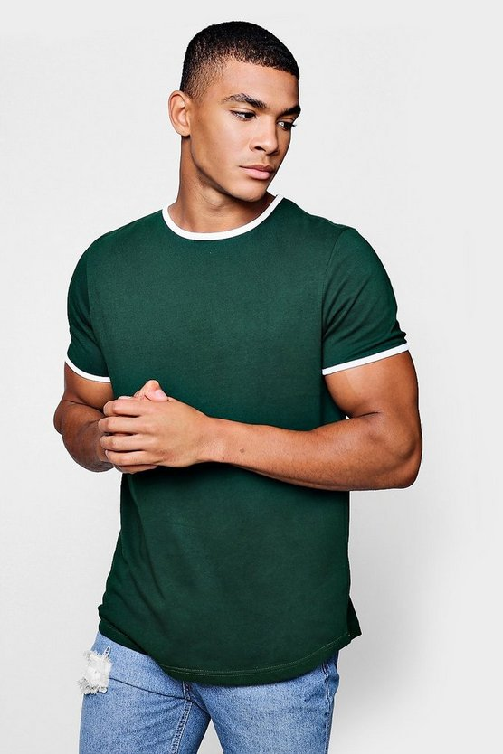 Mens Green Ringer T-Shirt With Curve Hem
