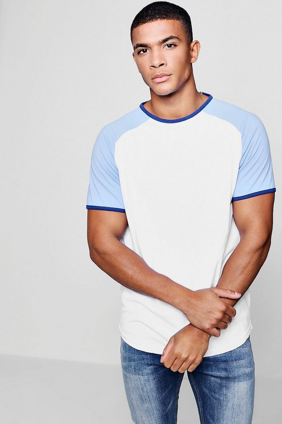 Mens Blue Raglan Ringer T-Shirt With Curve Hem