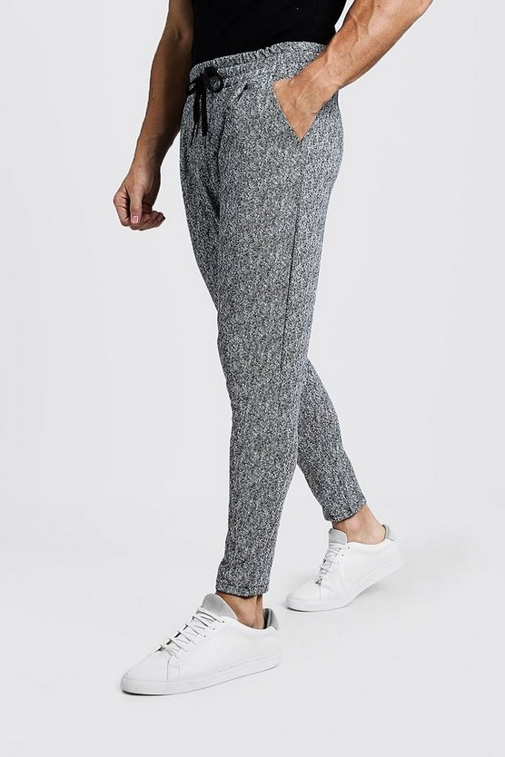 Mens Grey Smart Jogger In Grey Herringbone