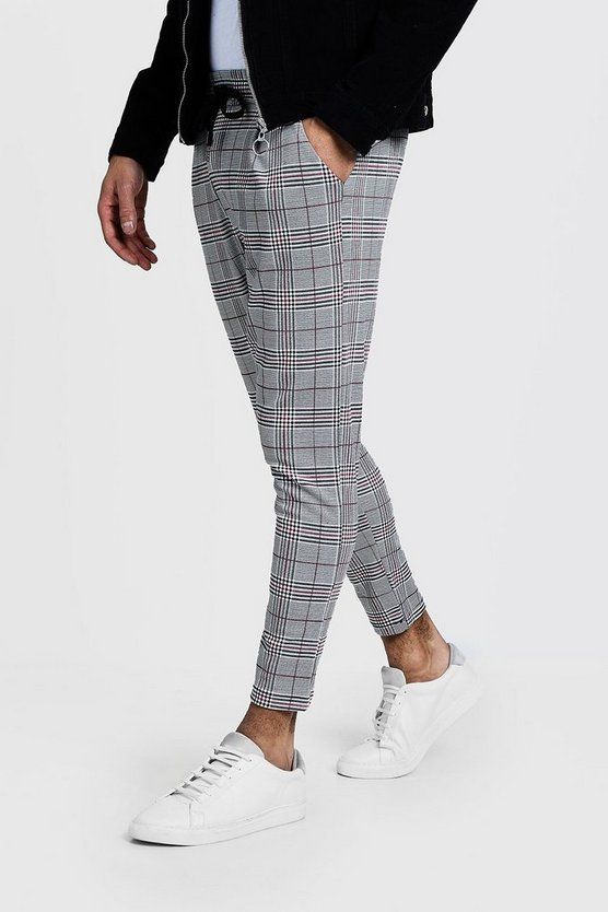 Mens Grey Prince Of Wales Red Check Smart Jogger