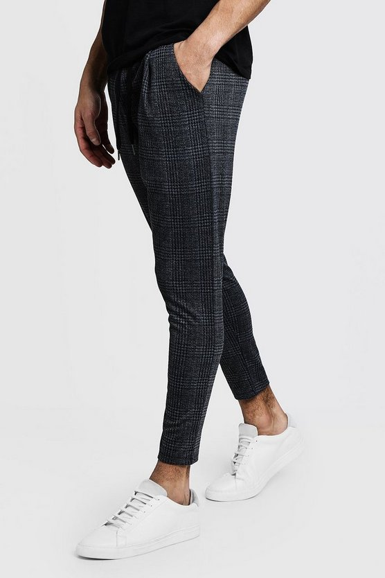 Mens Smart Jogger In Charcoal Check