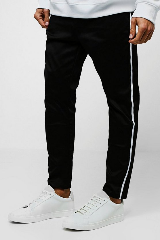 Mens Black Jogger Style Stretch Chino With Side Taping