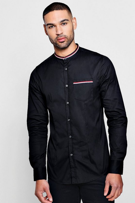 Mens Black Sports Tape Grandad Collar Shirt