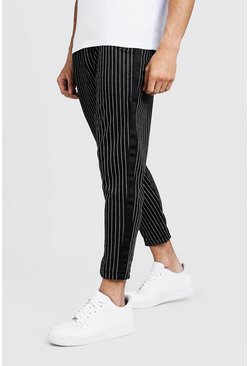 Mens Black Stripe Jogger Pants With Side Tape