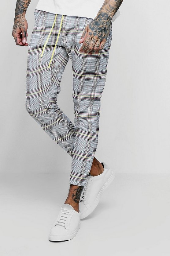 Mens Yellow Smart Checked Cropped Jogger
