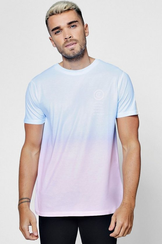 Faded Ombre Pocket Print T-Shirt
