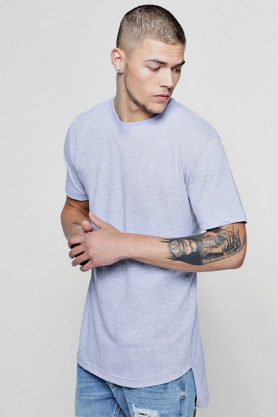 Mens Grey Short Sleeve Longline Curved Hem T-Shirt