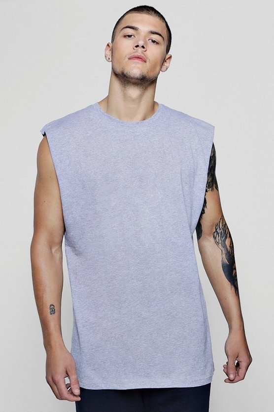 Sleeveless T-Shirt With Dropped Armholes