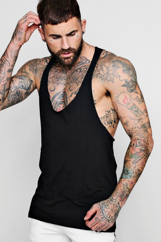 Mens Black Extreme Racer Back Vest With Raw Edge