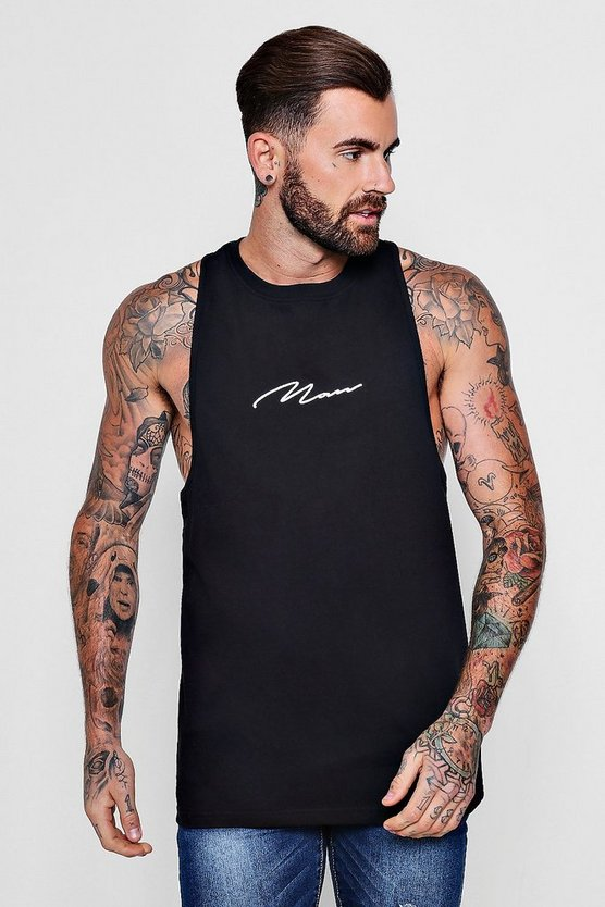 MAN Signature Print Racer Back Vest