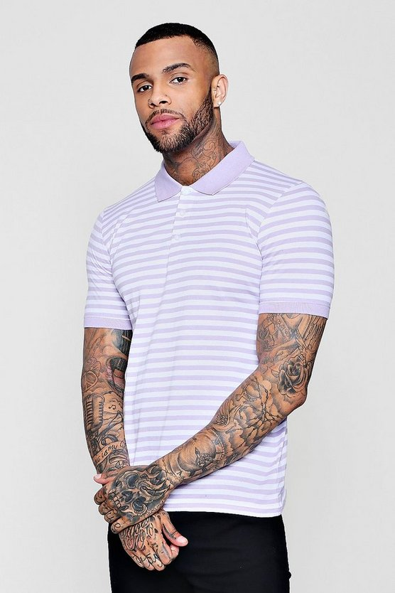 Yarn Dye Stripe Polo Neck T-Shirt