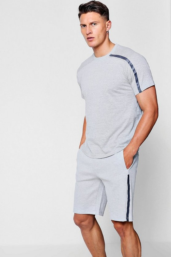 Sports Stripe Printed T-Shirt Short Set
