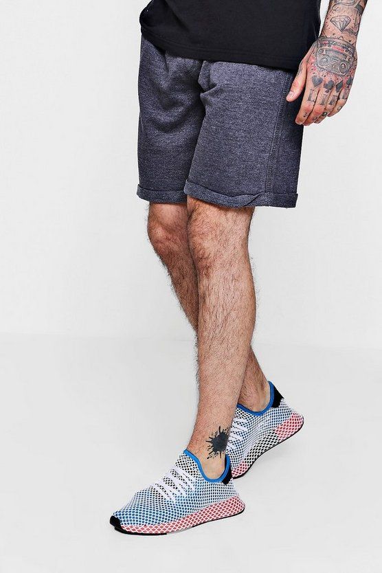 Mens Charcoal Mid Length Acid Wash Jersey Shorts