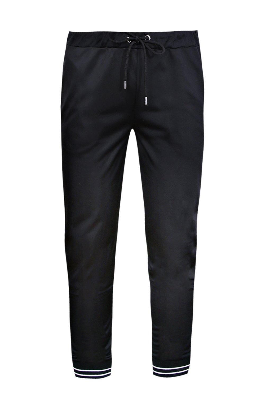 raya de bajos negro Pantalones correr jersey y lateral entallados con de p8pqaxHwUB