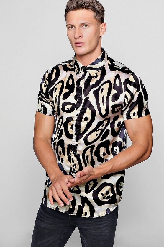 Leopard Print Satin Short Sleeve Shirt