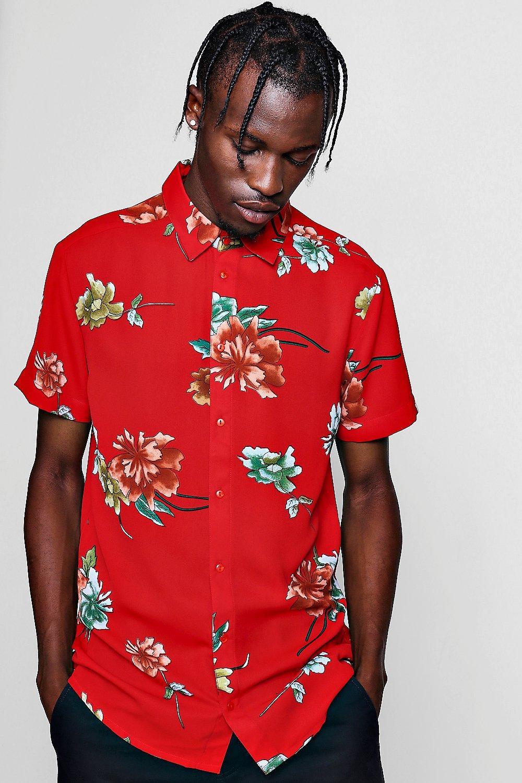 e9be9c3d Red Floral Print Short Sleeve Shirt - boohooMAN