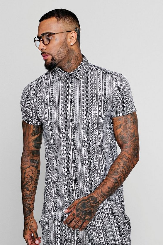 Aztec Print Short Sleeve Shirt