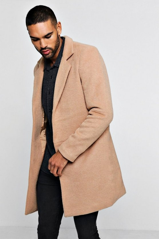 Mens Camel Smart Brushed Wool Overcoat