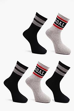 5 Pack Sport Rib Socks With Slogans & Stripes