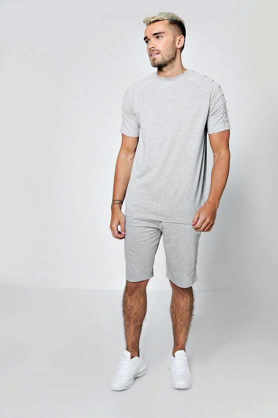 Mens Grey Biker Panel T-Shirt & Short Set