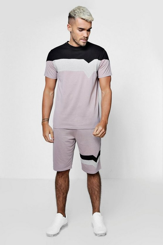 Mens Pink Chevron Colour Block T-Shirt & Short Set