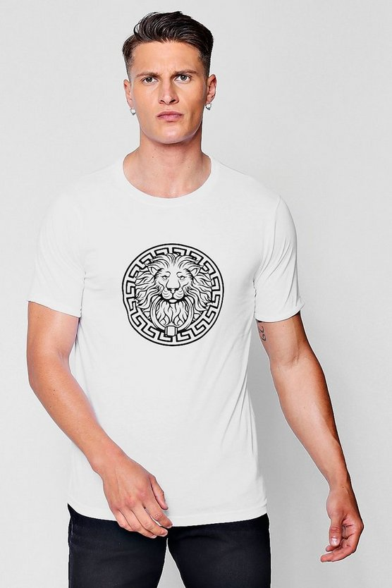 White Lion Print Rolled Sleeve T-Shirt