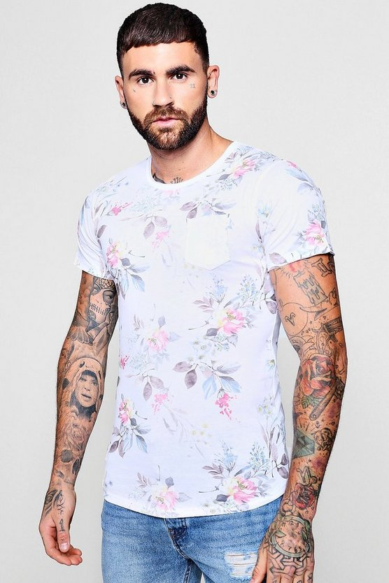Mens Pink Summer Floral Print T-Shirt With Pocket