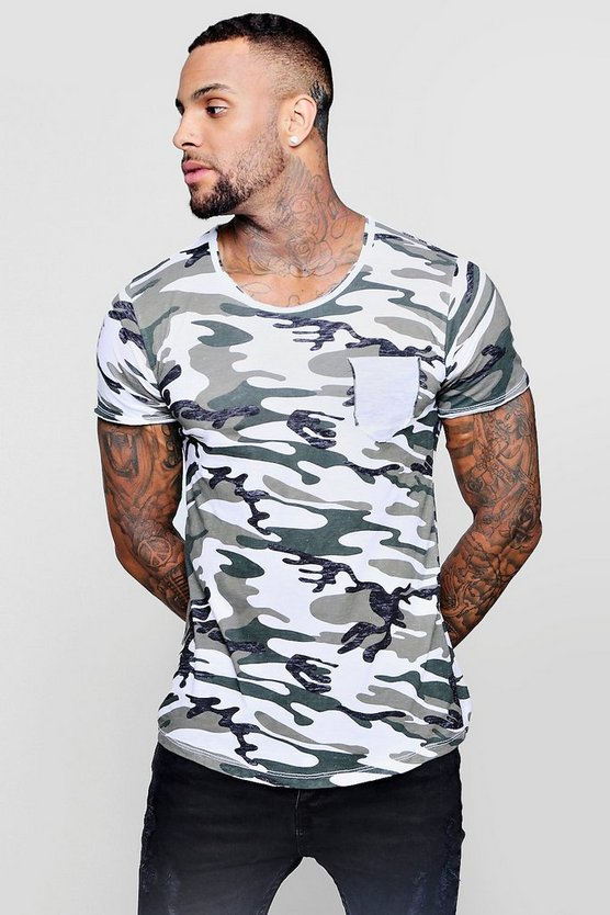 Washed Camo Longline Curved Hem T-Shirt