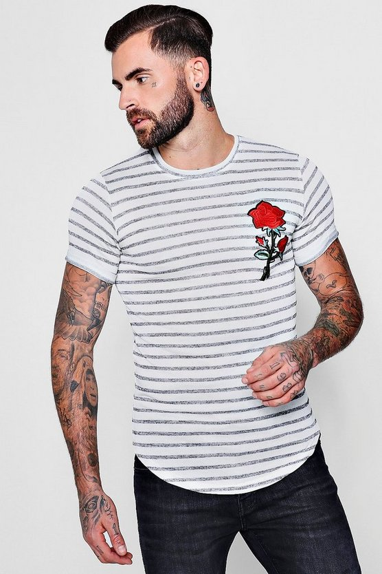 Knitted Stripe Muscle Fit T-Shirt With Rose Badge
